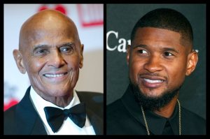 This photo combo of file photos shows Harry Belafonte, left, and Usher. During an hour-long conversation moderated by Soledad O'Brien, on Friday, Oct. 23, 2015, in New York, the 37-year-old Usher and 88-year-old Belafonte related with obvious warmth to each other as fellow artists, as activists and celebrities and as elder statesman and protege. (AP Photo)