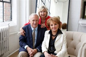 """In this image released by ABC,  John and Jan Ramsey pose with Barbara Walters, right, for her """"American Scandal"""" series for Discovery. Walters is revisiting some of her biggest news stories for """"American Scandals,"""" a new 9-episode series that premieres on Investigation Discovery on Monday at 10 p.m. EST. (Heidi Gutman/ABC via AP)"""
