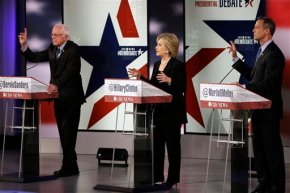 Clinton on donors, Sanders on wage inequality