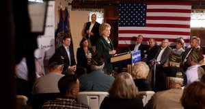 Democratic presidential candidate Hillary Rodham Clinton speaks during a campaign stop at the VFW Post, Tuesday Nov. 10, 2015 in Derry, N.H. Clinton outlined her plan to improve the Department of Veterans Affairs, pushing back against calls by Republicans to privatize the sprawling health care system for those who have served in the military. (AP Photo/Jim Cole)