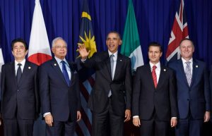 President Barack Obama, center, and other leaders of the Trans-Pacific Partnership countries pose for a photo in Manila, Philippines, Wednesday, Nov. 18, 2015, ahead of the start of the Asia-Pacific Economic Cooperation (APEC) summit. The leaders are, from left, Japan's Prime Minister Shinzo Abe, Malaysia's Prime Minister Najib Razak, President Obama, Mexico's President Enrique Pena Nieto, New Zealand's Prime Minister John Key. (AP Photo/Susan Walsh)
