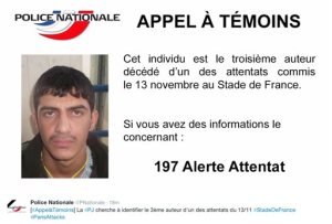 "RETRANSMISSION TO CLARIFY POLICE ARE SEEKING INFO ABOUT THIS DEAD SUICIDE BOMBER - This notice released Sunday, Nov. 22, 2015, by the French Police shows a call for witnesses and an undated portrait of an unidentified suicide bomber in connection with recent terror attacks in Paris, as police investigations continue. The notice, released on the national police Twitter account, reads in French: ""Call for witnesses - this unidentified individual is the third attacker who died at the Stade de France. Please call if you have any information"". (Police Nationale via AP)"