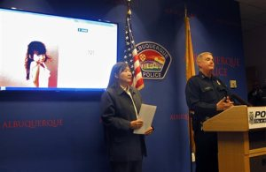 FBI special agent in charge Carol K.O.  Lee, left, and Albuquerque Police Department Chief Gorden Eden address the media Wednesday, Oct. 21, 2015, following a road-rage incident where four-year-old Lilly Garcia was shot and killed in Albuquerque, N.M. Police detained a man on Wednesday in connection with the killing of the girl who was shot in the backseat of her father's truck after he picked up her and her brother from school. (AP Photo/Mary Hudetz)