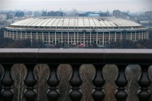 A view of the Luzhniki stadium which was the main venue at the 1980 Summer Olympics and hosted the Opening and Closing Ceremonies, Athletics, Football finals, in Moscow, Russia, Wednesday, Nov. 11, 2015. Russian President Vladimir Putin canceled a meeting with sports leaders, scheduled to be held in Sochi on Wednesday in the wake of the country's doping scandal. Putin had been due to discuss the doping allegations against Russia, with track federation coach Yuri Borzakovsky in attendance.(AP Photo/Pavel Golovkin)