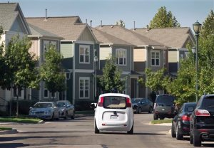 Google's self-driving car tours the Mueller Housing Development, Wednesday, Sept. 23, 2015, in Austin, Texas. Hustling to bring cars that drive themselves to a road near you, Google finds itself somewhere that has frustrated many before: Waiting for help from California's department of motor vehicles. (Ralph Barrera/Austin American-Statesman via AP)  AUSTIN CHRONICLE OUT, COMMUNITY IMPACT OUT, INTERNET AND TV MUST CREDIT PHOTOGRAPHER AND STATESMAN.COM, MAGAZINES OUT; MANDATORY CREDIT