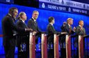 FILE - In this Oct. 28, 2015, Republican presidential candidate, from left, Ohio Gov. John Kasich, former Arkansas Gov. Mike Huckabee, former Florida Gov. Jeb Bush, Sen. Marco Rubio, R-Fla., Donald Trump and Ben Carson, participate in a debate in Boulder, Colo. Despite a handful of high-profile defections, most Republican presidential candidates are still demanding changes to the GOP's coming debates. That's not to say they are speaking with one voice. The White House hopefuls have distinct, sometimes contradictory, strategies to score political points from the uproar. (AP Photo/Mark J. Terrill, File)