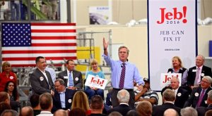 Republican presidential candidate Jeb Bush talks about his record as Florida governor and his hopes for his presidency during a campaign stop at the Kaman Aerospace in  Jacksonville, Fla., on Monday Nov. 2, 2015.  (Bob Mack/The Florida Times-Union via AP)