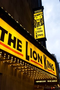 """FILE - This Jan. 19, 2012 file photo shows the Minskoff Theatre and the marquee for """"The Lion King"""" in New York. The production said Thursday, Nov. 12, 2015, it will start an online lottery for $30 tickets next week, joining a trend that has been adopted by most shows on the Great White Way. (AP Photo/Charles Sykes, File)"""