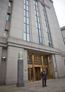 A court officer stands outside U.S. Federal Court, where two nephews of Venezuela's powerful first lady are facing arraignment after being arrested in Haiti, Thursday, Nov. 12, 2015, in New York. An indictment unsealed on Thursday accuses Efrain Campos and Francisco Flores of conspiring to smuggle cocaine into the United States. (AP Photo/Bebeto Matthews)