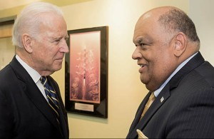 Vice President Joe Biden and Norfolk State University President and CEO Eddie N. Moore, Jr. talk about the cyber security workforce training program on Jan. 16, 2015. Photo from Norfolk State University.