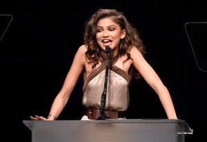 Actress/singer and honoree Zendaya speaks from the podium during EBONY magazine's 30th Annual Power 100 Gala at the Beverly Hilton on Wednesday, Dec. 2, 2015, in Beverly Hills, Calif. (Photo by Chris Pizzello/Invision/AP)