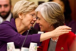 Senate Health, Education, Labor and Pensions Committee member Sen. Elizabeth Warren, D-Mass., left, talks with House Education and the Workforce Committee member Rep. Katherine Clark, D-Mass., on Capitol Hill in Washington, Wednesday, Nov. 18, 2015,as House and Senate negotiators try to resolve competing versions of a rewrite to the No Child Left Behind education law. (AP Photo/Jacquelyn Martin)