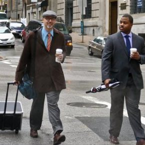2 distinct images of Baltimore officer on trial in Graycase