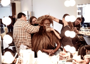 """In this Oct. 4, 2015 photo, David Alan Grier is fitted for his role as The Cowardly Lion in """"The Wiz Live!"""" in New York. The show, airing Thursday, also stars 19-year-old newcomer Shanice Williams as Dorothy, Queen Latifah as the Wiz, Mary J. Blige as the Wicked Witch of the West, Ne-Yo as the Tin Man, Elijah Kelley as Scarecrow, Common as the Bouncer, Uzo Aduba as Glinda, Amber Riley as Addaperle, and Stephanie Mills as Auntie Em. (Paul Gilmore/NBC via AP)"""