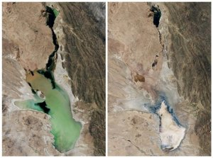 This photo combo of satellite images provided by NASA Earth Observatory shows Lake Poopo filled with water on April, 12, 2013, left, and almost dry on Jan. 15, 2016, right, in Bolivia. As Andean glaciers disappear so do the sources of Poopo's water. Along with glacial melting, authorities say another factor is the diversion of water from Poopo's tributaries, mostly for mining but also for agriculture. (NASA Earth Observatory via AP)