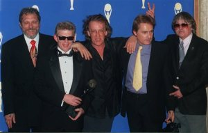 "FILE-This Jan. 17, 1996, file photo shows members of the 1960's band ""The Jefferson Airplane,"" from left, Jorma Kaukonen, Jack Casady, Paul Kantner, Marty Balin, and Spencer Dryden posing backstage after the band's induction into the Rock and Roll Hall of Fame in New York. Paul Kantner, an original member of the seminal 1960s rock band Jefferson Airplane and the eventual leader of successor group Jefferson Starship, has died at age 74. He died at a San Francisco hospital on Thursday, Jan. 28, 2016 after falling ill earlier in the week, former girlfriend and publicist Cynthia Bowman told The Associated Press. (AP Photo/Joe Tabacca, File)"