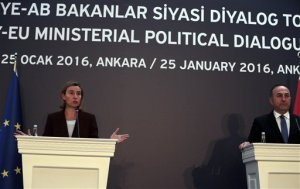 "Turkish Foreign Minister Mevlut Cavusoglu, right, and European Union's Foreign Policy Chief Federica Mogherini speak to the media after talks in Ankara, Turkey, Monday, Jan. 25, 2016.   Cavusoglu has said the Syrian Kurdish forces' participation in U.N-led peace talks for Syria in Geneva would be ""dangerous"" and lead to  the end of the U.N.-led initiative.  Turkey considers the Syrian Kurdish forces, which the U.S and others have relied on in the fight against the Islamic State group in Syria, as ""terrorists, ""accusing them of cooperating with its outlawed Kurdish rebels.(AP Photo/Burhan Ozbilici)"