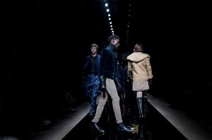 Models wear creations as part of Balmain men's Fall-Winter 2016/2017 fashion collection presented in Paris, Saturday, Jan. 23, 2016. (AP Photo/Kamil Zihnioglu)
