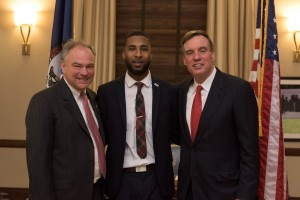 SGA President Twain Davis with Virginia Senators Tim Kaine (left) and Mark Warner (right) at the recent Student Debt Roundtable. (Photo from Norfolk State University)