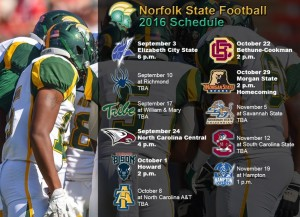 Five home games, the return of the Labor Day Classic and eight games played within the Commonwealth of Virginia highlight the 2016 Norfolk State University football schedule, which was announced Wednesday by head coach Latrell Scott.