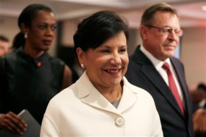 In this photo taken Monday, Jan. 25, 2016, U.S Commerce Secretary Penny Pritzker arrives for a meeting with in Lagos, Nigeria. U.S. Commerce Secretary Penny Pritzker and a slew of American business executives are meeting in Nigeria to encourage trade they say will create jobs on both continents. (AP Photo/Sunday Alamba)