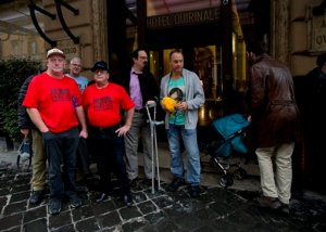 From left, Dominic Ridsdale, Phil Nagle, Tony Waroley, Stephen Woods and Peter Blenkiron, survivors and relatives of priestly sex abuse, stand in front of the Quirinale hotel in Rome, Sunday, Feb. 28, 2016. A group of Australian survivors of priestly sex abuse and their relatives are in Rome to witness one of the highest-ranking Vatican official, Cardinal George Pell, testify before an Australian commission investigating the depth of the abuse scandal Down Under. (AP Photo/Alessandra Tarantino)