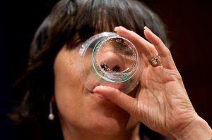 Flint Mayor Karen Weaver drinks water as she appears before a House Democratic Steering and Policy Committee hearing on the Flint water crisis on Capitol Hill in Washington, Wednesday, Feb. 10, 2016. (AP Photo/Andrew Harnik)