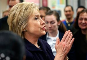 Democratic presidential candidate Hillary Clinton meets with employees of Paris Las Vegas during a visit to the hotel and casino Thursday, Feb. 18, 2016, in Las Vegas. (AP Photo/John Locher)