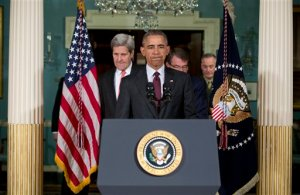 President Barack Obama, center, followed by Secretary of State John Kerry, left, Defense Secretary Ash Carter, second from right, and Joint Chiefs Chairman Gen. Joseph Dunford, right, arrives to speak to media after a meeting of his National Security Council (NSC) at the State Department in Washington, Thursday, Feb. 25, 2016. The meeting focused on the global campaign to degrade and destroy ISIL as well as Syria and other regional issues. (AP Photo/Carolyn Kaster)