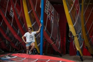 "Marina Alabau, a Spanish windsurfer and a gold medalist at London Olympics, stands by her surf borads in Eliat, Israel, Friday, Feb. 19, 2016 as she prepares for the RS:X World Championship. Alabau said she got Zika while training in Brazil in December, making her possibly the first Olympic athlete to come down with a virus that the World Health Organization has deemed an ""international health emergency."" (AP Photo/Tsafrir Abayov)"