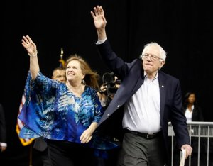 Democratic presidential candidate, Sen. Bernie Sanders, I-Vt., right, and his wife, Jane arrive for a rally in Norfolk, Va., Tuesday, Feb. 23, 2016. (AP Photo/Steve Helber)