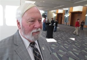Joe Conlon, technical adviser for the American Mosquito Control Association, discusses challenges associated with fighting the mosquito that carry the Zika virus during the association's annual conference in Savannah, Georgia, on Monday, Feb. 8, 2016. Experts say the mosquito species known to spread the Zika virus live and breed in people's homes and yards, making them tough to reach with sprays and often requiring labor-intensive door-to-door interventions. (AP Photo/Ross Bynum)