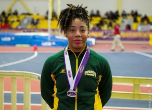 Senior Kiara Howell earned MEAC Indoor Championship Co-Most Outstanding Field Athlete honors on Saturday, Feb 13, as the Spartan women's track and field team capped its indoor season at the 2016 conference championship at the Prince George's Sports & Learning Complex. Photo from NSUSpartans.com.