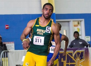 Chris Lee broke his own school record in winning the shot put gold medal and Steve Coles sprinted to a victory in the 200 meters as the Norfolk State men's track and field team placed fifth at the 2016 MEAC Indoor Championship at the Prince George's Sports & Learning Complex on Saturday, Feb 13. Photo from NSUSpartans.com.