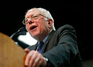 Democratic presidential candidate, Sen. Bernie Sanders, I-Vt., speaks at a rally Tuesday, March 22, 2016, in San Diego. (AP Photo/Lenny Ignelzi)