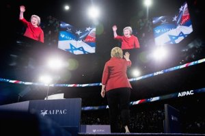 Democratic presidential candidate Hillary Clinton waves as she arrives to speak at the 2016 American Israel Public Affairs Committee (AIPAC) Policy Conference, March 21, 2016, at the Verizon Center in Washington. (AP Photo/Andrew Harnik)