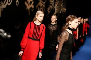 Models wear creations for Singapore-born, Paris-based fashion designer Andrew GN's Fall-winter 2016-2017 ready to wear collection presented in Paris, France, Friday, March 4, 2016. (AP Photo/Francois Mori)