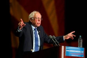 Democratic presidential candidate, Sen. Bernie Sanders, I-Vt., speaks at a campaign rally at the Phoenix Convention Center in Phoenix, Tuesday, March 15, 2016. (AP Photo/Ricardo Arduengo)