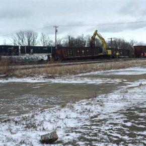 Crews work to clear NY tracks where 16 freight cars derailed