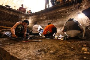 In this 2012 photo provided by the Liang Bua Team, archaeological excavations of Holocene deposits at Liang Bua are conducted on the Indonesian island of Flores. These sediments contain skeletal and behavioral evidence of modern humans (Homo sapiens). (Liang Bua Team via AP) MANDATORY CREDIT