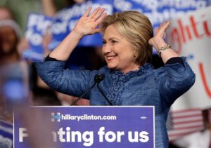 Democratic presidential candidate Hillary Clinton acknowledges the crowd during an election night event at the Palm Beach County Convention Center in West Palm Beach, Fla., Tuesday, March 15, 2016. (AP Photo/Lynne Sladky)