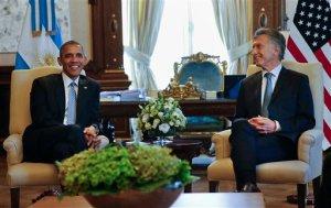 President Barack Obama meets with Argentine President Mauricio Macri, Wednesday, March 23, 2016, at the Casa Rasada in Buenos Aires, Argentina. (AP Photo/Pablo Martinez Monsivais)