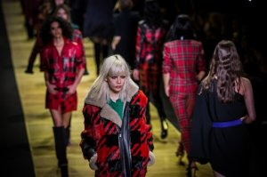 Models wear creations for Barbara Bui's Fall-Winter 2016-2017 ready-to-wear fashion collection, presented Thursday, March 3, 2016 in Paris. (AP Photo/Vianney Le Caer)