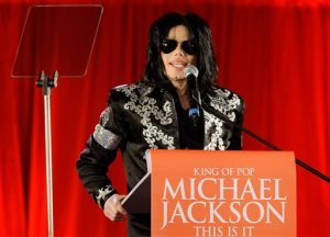 FILE - In this March 5, 2009 file photo, US singer Michael Jackson announces that he is set to play ten live concerts at the London O2 Arena in July, which he announced at a press conference at the London O2 Arena. Jackson and Sony Corp. announced Monday, March 14, 2016, that the singer's estate had sold its half interest in the massive Sony/ATV Music Publishing catalog to the company for $750 million. The catalog includes music by The Beatles, Bob Dylan and other stars, but the deal does not include rights to Jackson's master recordings or songs he wrote. (AP Photo/Joel Ryan, File)