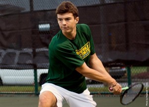 Richmond earned a third set win at the No. 1 spot in the lineup on the way to a 7-0 win over the Norfolk State men's tennis team on Sunday, Mar 20, afternoon at the indoor Folkes-Stevens Tennis Center. Photo from NSUSpartans.com.