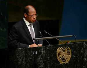 Guyana's ambassador George Wilfred Talbot, addresses the United Nations special session on global drug policy Wednesday, April 20, 2016, at the U.N. headquarters. (AP Photo/Frank Franklin II)