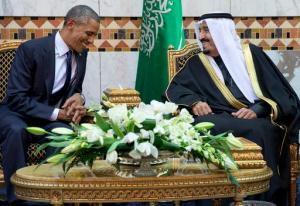FILE - In this Jan. 27, 2015 file photo, President Barack Obama meets Saudi Arabia King Salman bin Abdul Aziz in Riyadh, Saudi Arabia. When Obama arrives in the Saudi capital on Wednesday, April, 20, 2016, he'll face an increasingly assertive Saudi leadership still heavily dependent on U.S. weapons and military might that nonetheless has little trust in him and essentially believes they've been thrown a curveball. The president is also expected to push Saudi Arabia and other Gulf allies for greater cooperation and military backing in the fight against the Islamic State group in Iraq and Syria. (AP Photo/Carolyn Kaster, File)