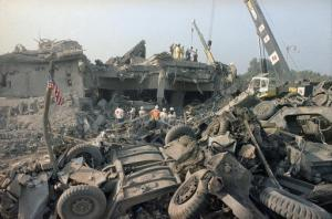 FILE - In this Oct. 23, 1983 file photo, the aftermath of the bombing of the U.S. Marines barracks in Beirut, Lebanon. The Supreme Court upheld a judgment allowing families of victims of Iranian-sponsored terrorism to collect nearly $2 billion. The court on Wednesday, April 20, 2016, ruled 6-2 in favor of relatives of the 241 Marines who died in a 1983 terrorist attack in Beirut and victims of other attacks that courts have linked to Iran.(AP Photo/Jim Bourdier, File)