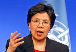 FILE - In this file photo dated Wednesday, March 23, 2016, World Health Organization Director-General Margaret Chan delivers her speech during a conference in Lyon, central France.  Chan said Wednesday April 6, 2016, that excessive weight, aging and population growth have recently driven a huge increase in worldwide cases of diabetes and called for stepped-up measures to reduce risk factors as well as improve treatment and care. (AP Photo/Francois Mori, FILE)