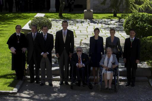 Fernando del Paso, Socorro Gordillo, Queen Letizia, King Felipe, Mariano Rajoy, Inigo Mendez de Vigo